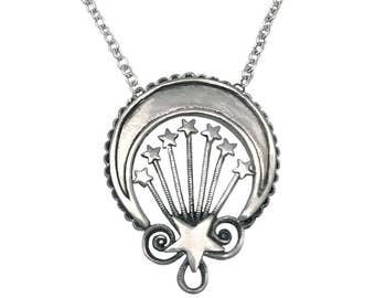 Crescent & Stars Necklace     silver gold star moon pendant jewelry