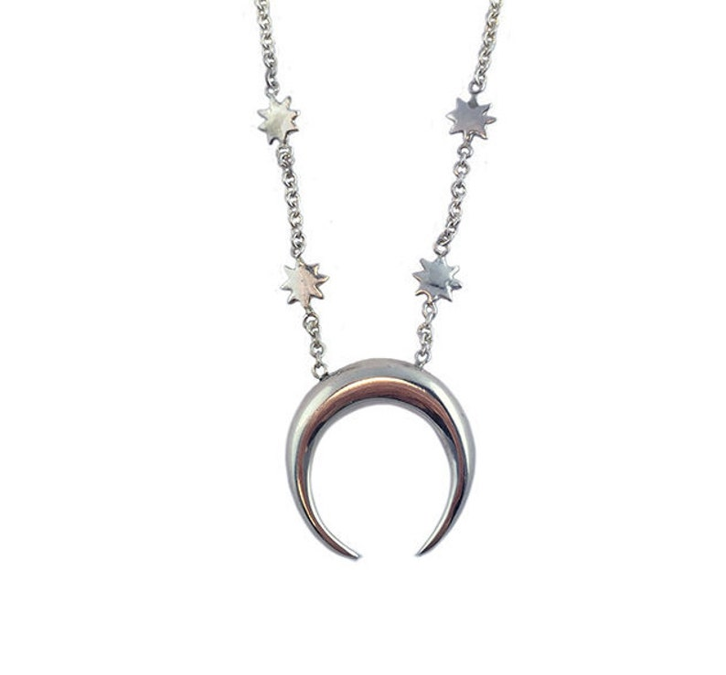 d0ccd1058a541 Crescent Moon Necklace star jewelry silver sterling gold tusk jewelry