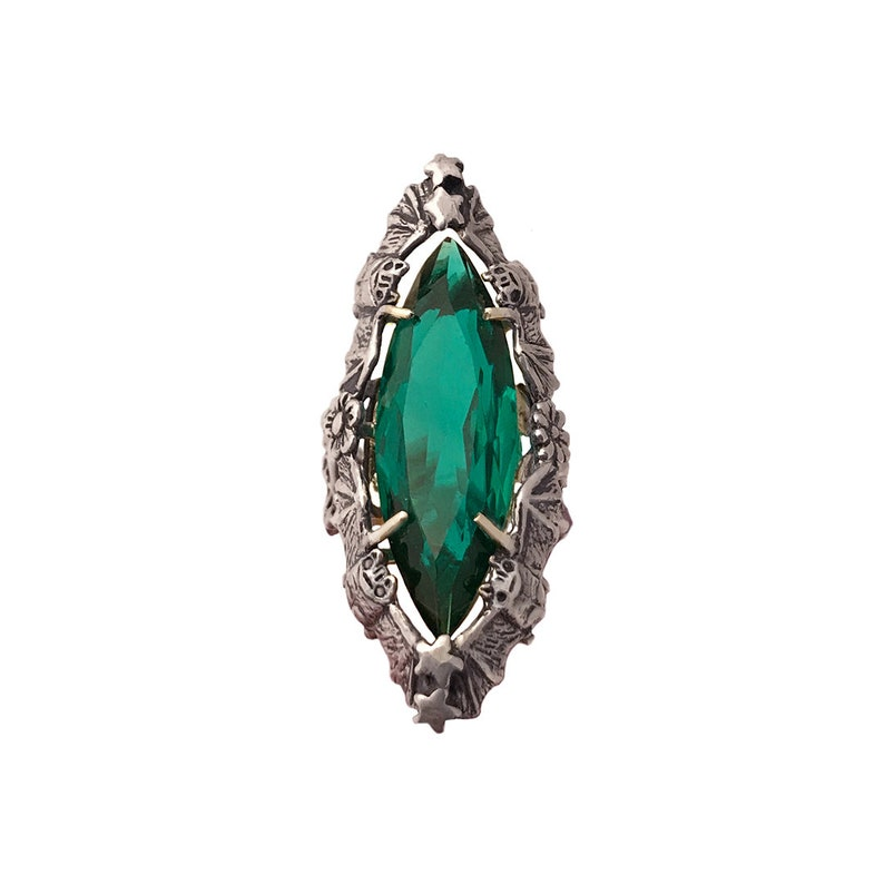 Bat and Emerald Ring       skull marquise silver gold sterling statement cornucopia