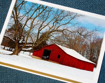 Red Barn in Winter Holiday Cards