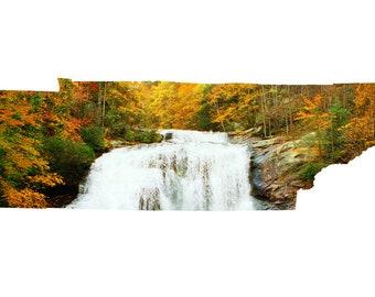 TN Map Art - Bald River Falls Autumn