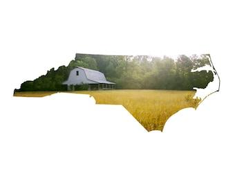 NC Map Art - Bynum Barn