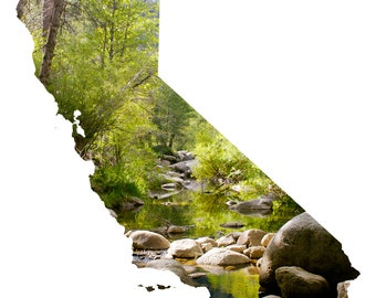 CA Map Art - Mountain Stream