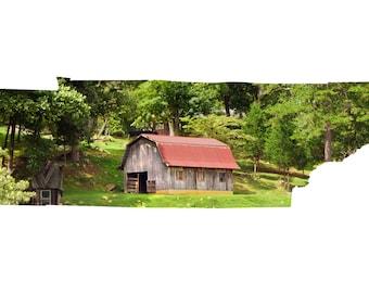 TN Map Art - Mountain Barn