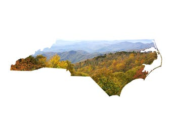 NC Map Art - Blue Ridge Parkway View