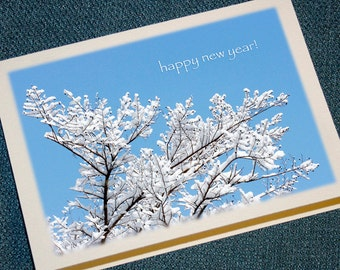 Snowy Branches Happy New Year Cards