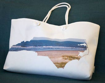 NC State Shape Weekender Tote Bag - North Carolina Photography, Accessory, Beach Bag