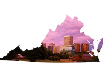 VA Shape - Richmond Skyline Sunset