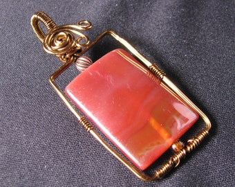 Pendant ONLY Wire wrapped Carnelian Bead Ready to hang from your favorite chain Necklace casual Fashion Jewelry For women
