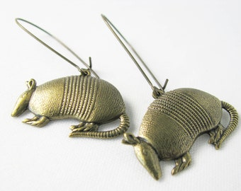 9f9100ccff374 ANTIQUE GOLD Finish Armadillo EARRINGS