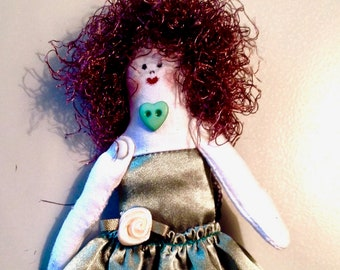 Moss-green Fairy doll---fairies---fabric doll---art doll---cloth doll
