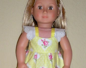 Yellow Sundress w/Barbie toy---doll dress---doll clothing---fits American girl dolls