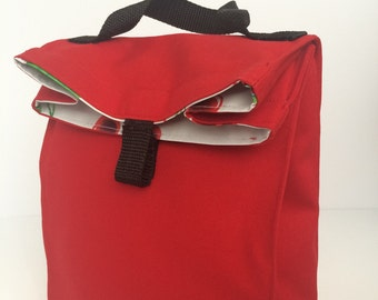 Oilcloth and canvas lunchbag--you choose fabric--FREE SHIPPING in USA