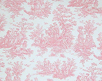 """PINK TOILE FABRIC -Yardage, 54"""" wide, by the yard - Pink and white toile print- cotton twill, upholstery, drapery weight, decor fabric"""