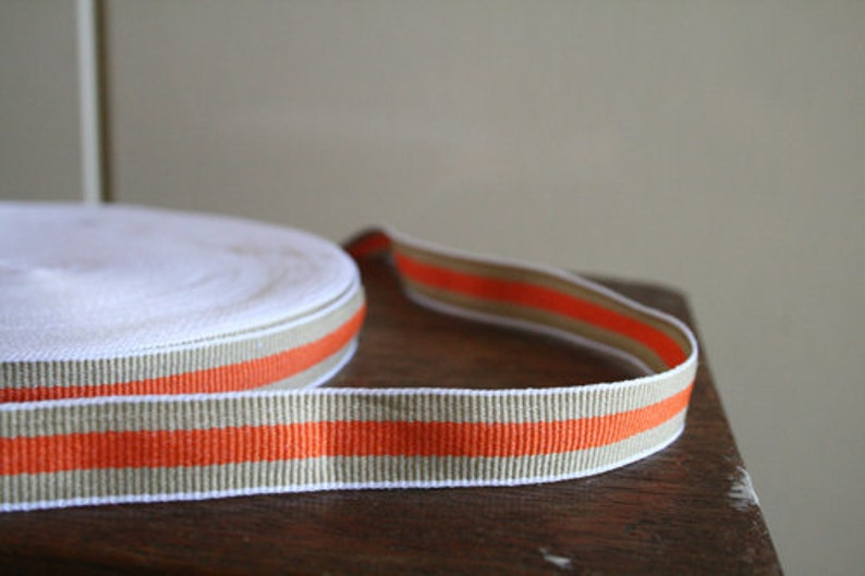 3 meter ORANGE COTTON TAPE / trim / stripes / ribbon / etsy Australia