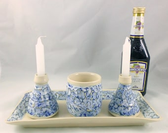White and Blue Shabbat Set with Tray
