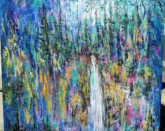 Fall sale Large original oil painting, large canvas art , large  painting, Large painting -  Sunny Yosemite wild flower Meadow