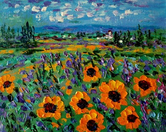 Canvas Large print, Giclée large canvas print, Sunflowers ,Large Sunflower print. French Country Sunflowers , Sunflowers and white houses