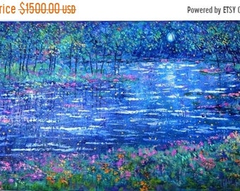 Fall sale Original large oil painting , large painting, big painting, large wall art , blue painting, large blue painting, moon light, lilly