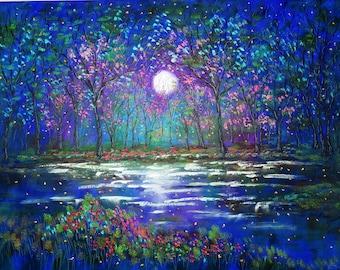 Cherry Trees moon print ,large moon print, cherry blossoms