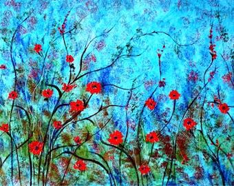 Canvas print - Red  poppies against aqua sky - large canvas print , large print, giclee print ,red poppy print