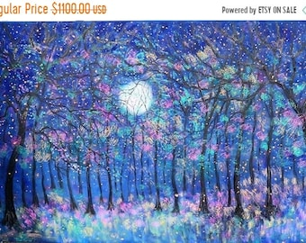 Fall sale Large oil painting , Original painting , Large painting , big blue painting, Fireflies , moon and stars , moon and firefly paintin