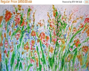 Fall sale Original Abstract Acrylic and oil  painting  30 x 40 x 1.5  Wild Poppies   - FREE SHIPPING in Us