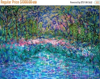 Fall sale Enchanted Garden - 40 x 30 x 1.5 - oil with cold wax