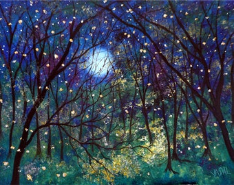 Firefly print - blue green trees and moonlight - fireflies in moonlight