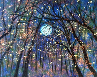 Giclée Canvas Painting, Print Art, Large Landscape, Abstract Painting, Copper moon  and Fireflies  -