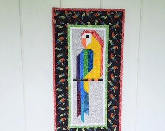 Macaw Parrot Quilted Wall Hanging, Bird Art Quilt