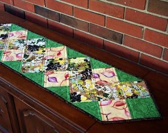 Autumn Quilted Table Runner, Leaves, Flowers, Fall Runner, Handmade Finished Table Runner