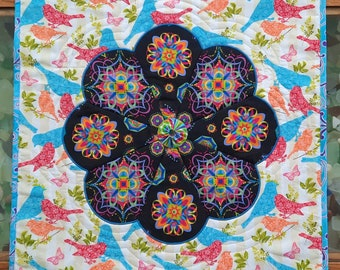 Kaleidoscope Quilted Wall Hanging, Contemporary Table Topper, Birds