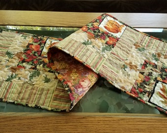 Fall Autumn Quilted Table Runner, Warm Rich Fall Colors, Finished Quilt