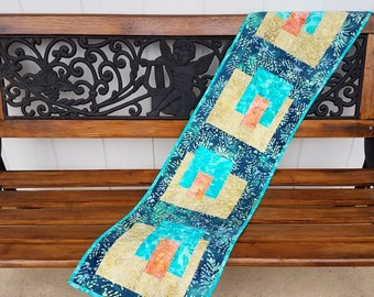 Batik Quilted Table Runner, Modern Table Runner, Contemporary Quilted Runner, Handmade Finished Quilt