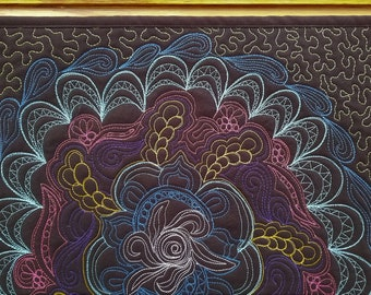 Graffiti Art Quilt Wall Hanging, Quilted Wall Art, Free Motion Quilting