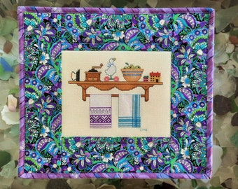 Counted Cross Stitch Country Shelf Quilted Wall Hanging