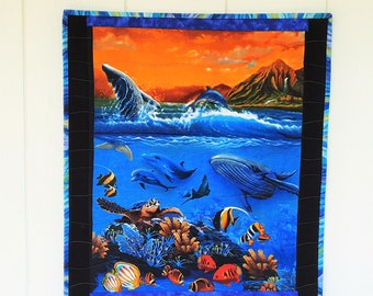 Under the Sea Quilted Wall Hanging, Whales, Dolphins, Turtle, Tropical Fish