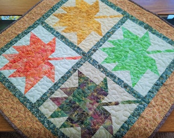 Fall Quilted Wall Hanging, Autumn Table Topper with Leaves