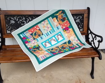 Modern quilted wall hanging, Baby Blanket, Bright scrap quilt, Contemporary Wall Hanging