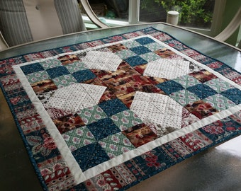 Warm Tones Table Topper Quilt, Fall Quilt, Quilted Autumn Table Topper, Handmade Quilt