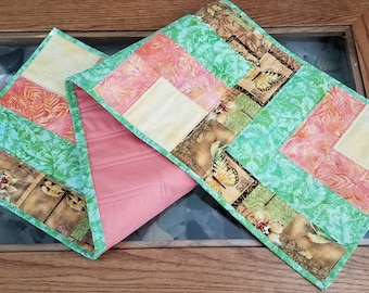 Fall Autumn Quilted Table Runner, Warm Rich Fall Colors, Batik Fabric Runner, Finished Quilt