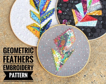 Geometric Feathers a wildboho Applique & Embroidery Pattern