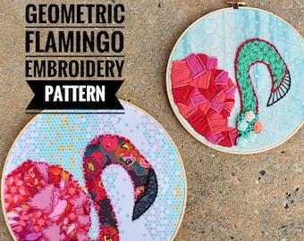 Geometric Flamingo a wildboho Applique & Embroidery Pattern