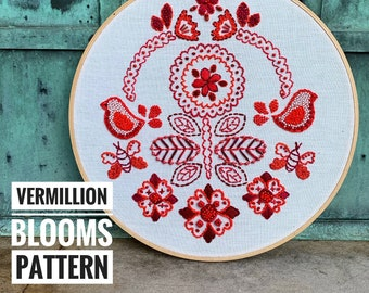 Vermillion Blooms a wildboho Embroidery Pattern