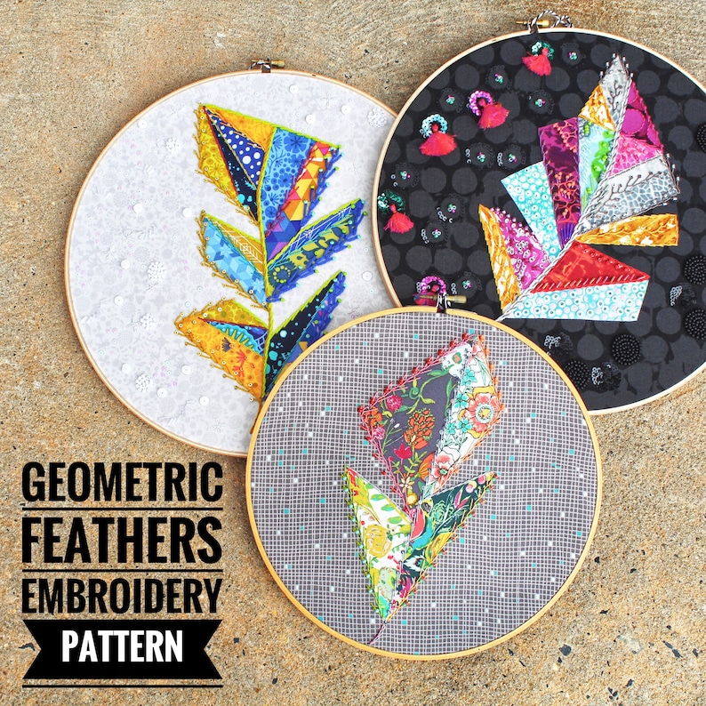 Geometric Feathers a wildboho Applique & Embroidery Pattern image 0