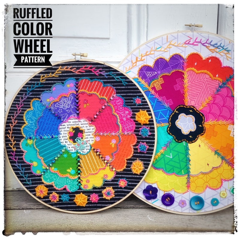 Ruffled Color Wheel a wildboho Appliqué & Embroidery Pattern image 0