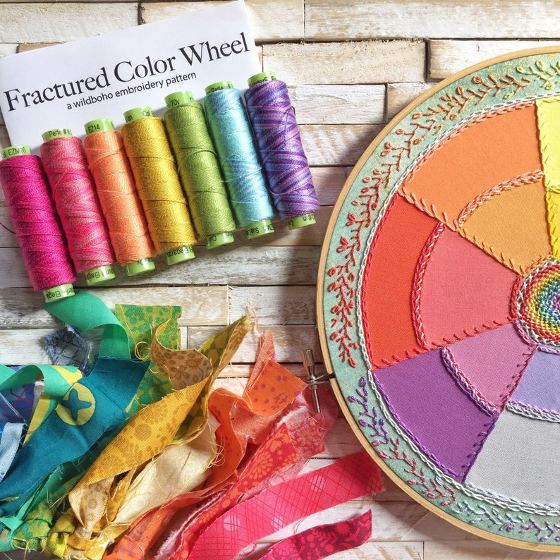 Fractured Color Wheel a wildboho Applique & Embroidery Pattern image 0