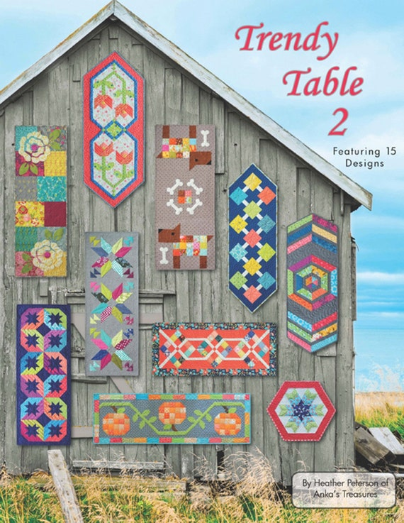 trendy table 2 featuring 15 quilted table runner designs etsy rh etsy com Quilted Table Runner Patterns Country Table Runners