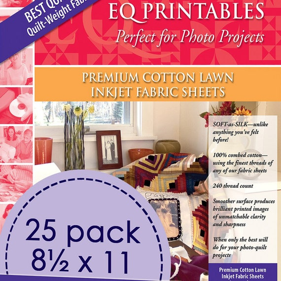 Electric Quilt Eq Printables Premium Cotton Lawn Inkjet 25 Fabric Sheets